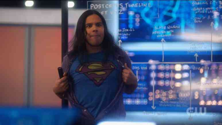 Cisco shows off his Superman shirt. Pic credit: The CW