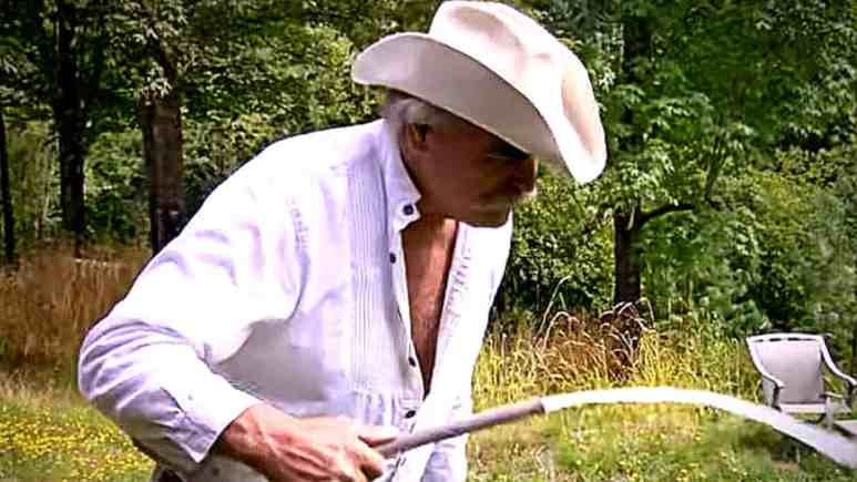 Marty Raney will soon regret tasting this Oregon homesteader's water. Pic credit: Discovery.
