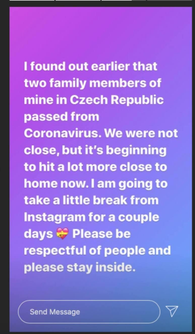 Stephanie Matto's Instagram story announcement