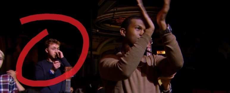 Louis Knight cries in the Idol audience
