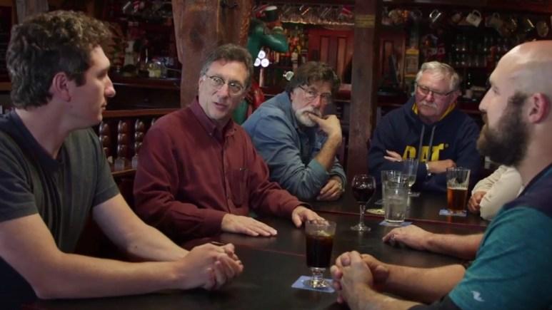 The Oak Island team meet in the pub
