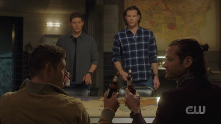 Sam (Jared Padalecki) and Dean (Jensen Ackles) meet their doppelgangers on Supernatural. Pic credit: The CW