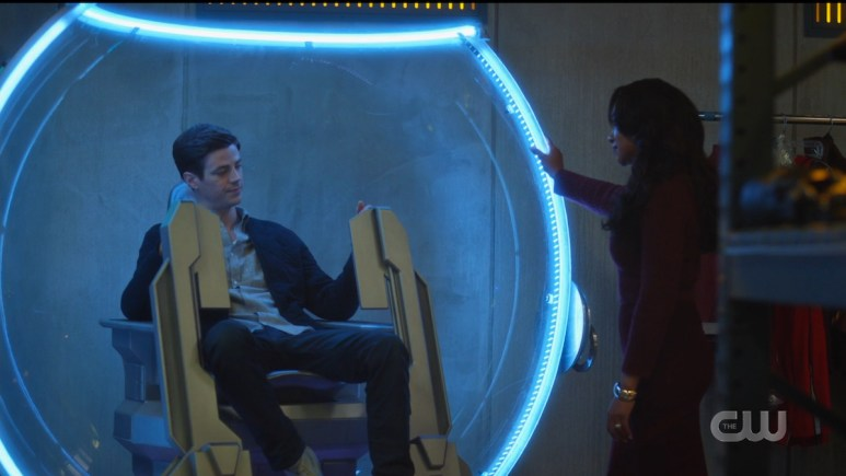 Mirror Iris (Candice Patton) pretends to console Barry (Grant Gustin) on The Flash. Pic credit: The CW