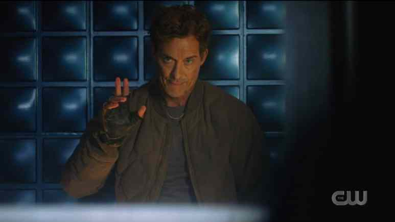 Nash/Thawne (Tom Cavanagh) says hello to Barry (Grant Gustin) on The Flash. Pic credit: The CW.