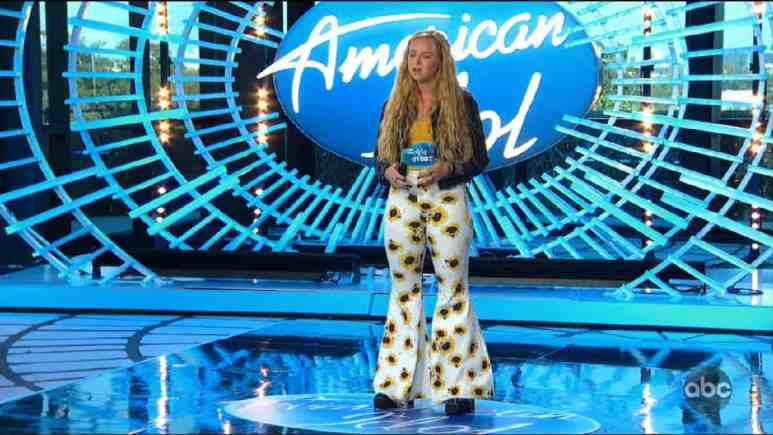 Shannon Gibbons wears sunflower pants and auditions for Idol