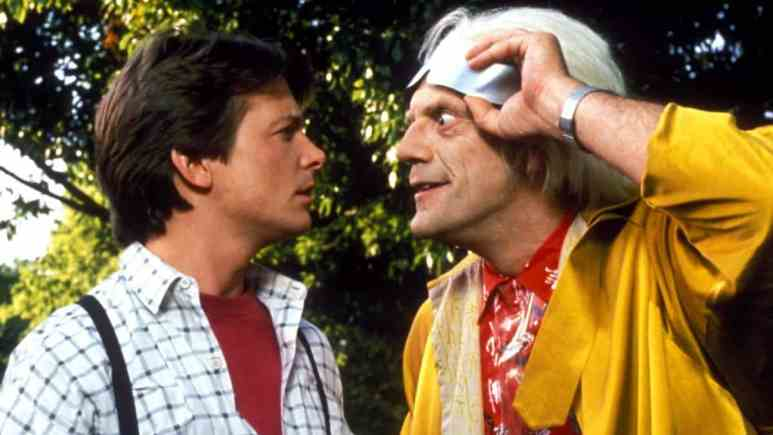 Michael J Fox and Christopher Lloyd on the set of Back to the Future