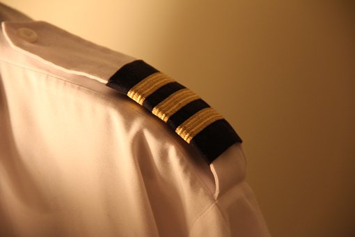 A first officer's epaulettes are pictured