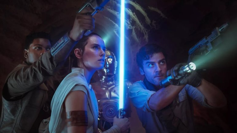 The stars of Star Wars: The Rise of Skywalker draw their weapons against an unseen enemy