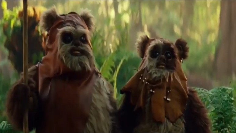 The Rise of Skywalker's Warwick and Harrison Davis stand side by side in Ewok costumes