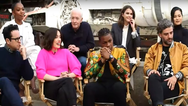 The cast of The Rise of Skywalker is asked to show their reaction to the film's final scene.