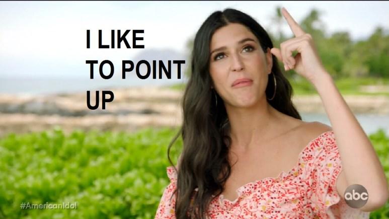 Julia Gargano pointing up saying she always does that