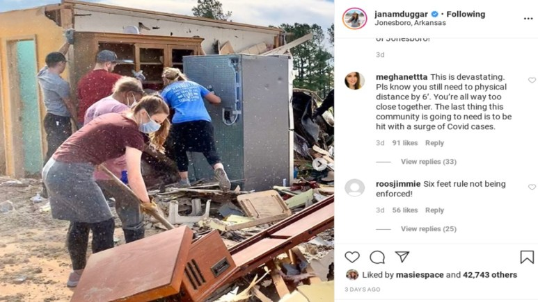 Jana Duggar's comments from the tornado post.