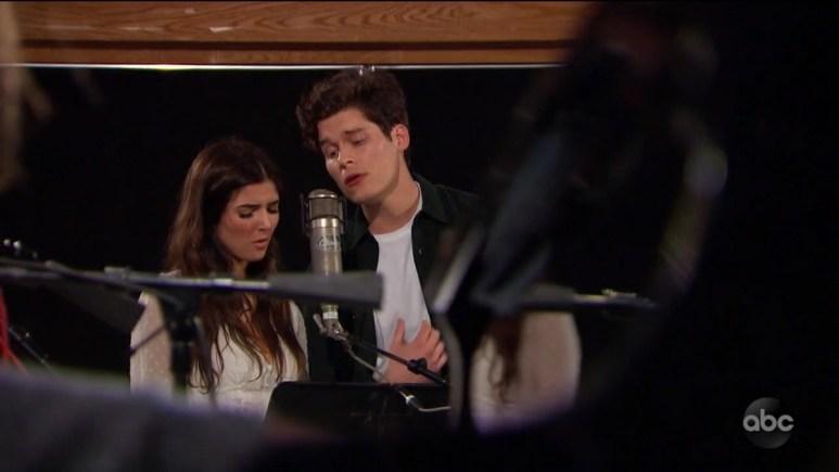 Jamie and Ryan singing in studio