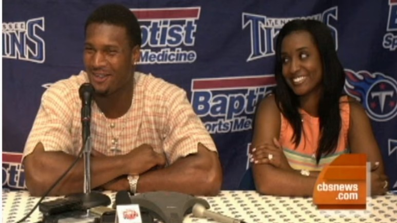 Steve McNair and his wife Mechelle being interviewed