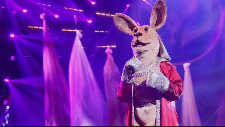 The Kangaroo was sent home and unmasked on this week's episode of The Masked Singer. Pic credit: FOX