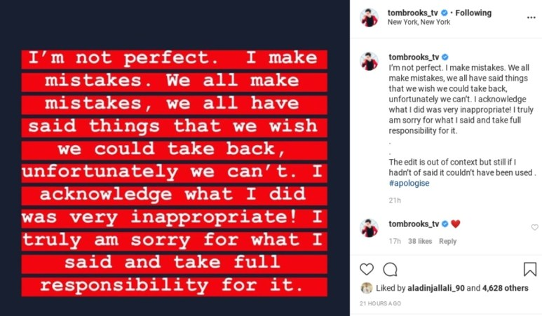 Tom Brooks apologizes for asking Darcey Silva if she gained weight