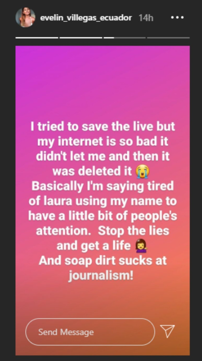 "Evelin lashes out at Laura for ""lying"" about hher"