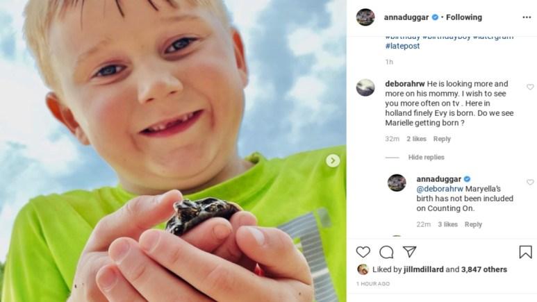 Anna Duggar's comment on Instagram.