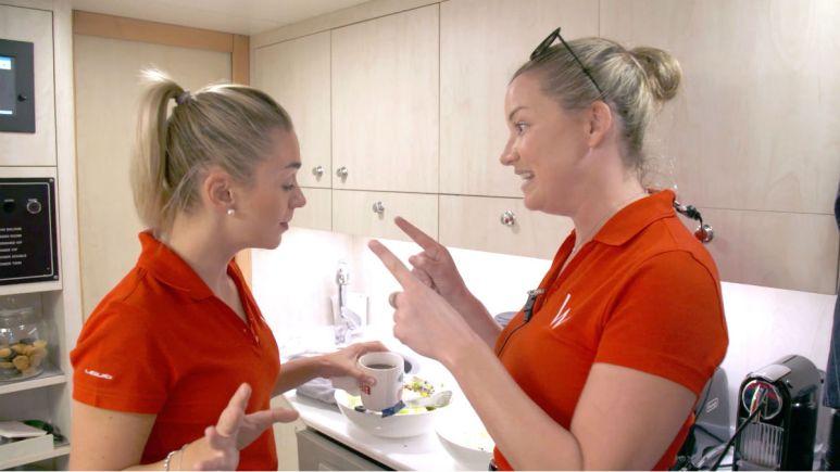 Below Deck Med star Hannah Ferrier reacts to Lara Flumiani leaving.