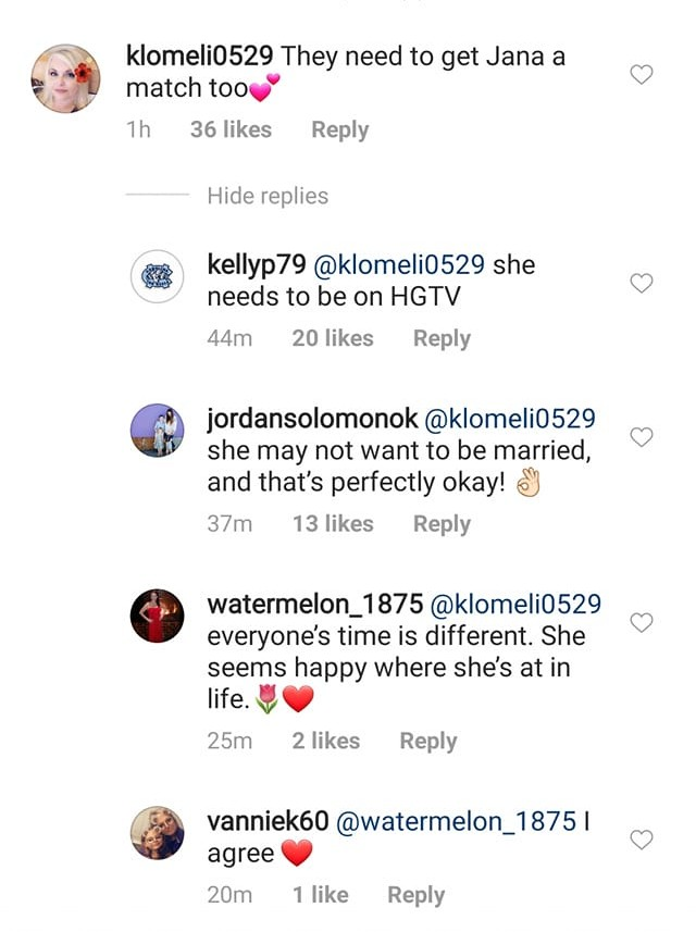 Comments on Jinger's Instagram post.