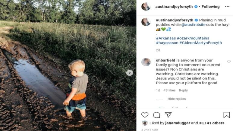 Fans call out Joy-Anna Duggar on Instagram.
