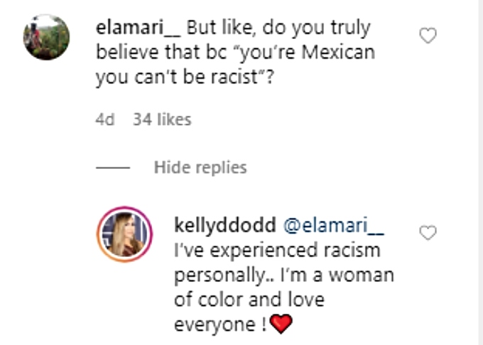 Kelly responds to IG user
