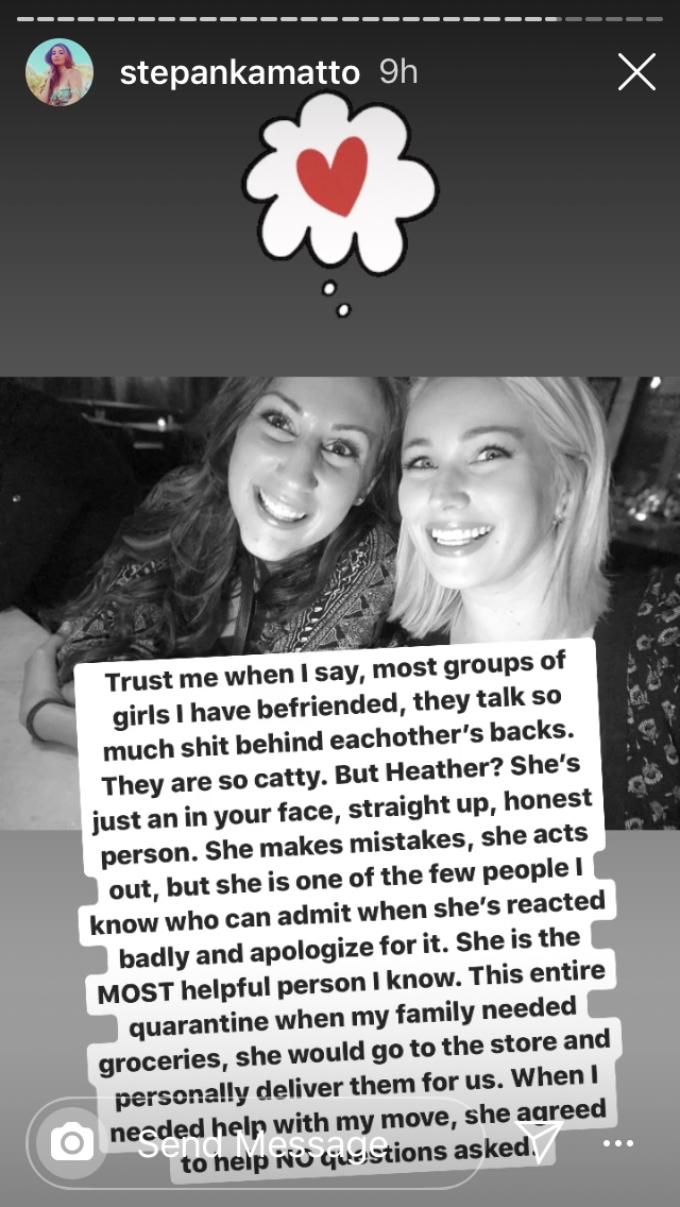 Stephanie defends her friend from backlash