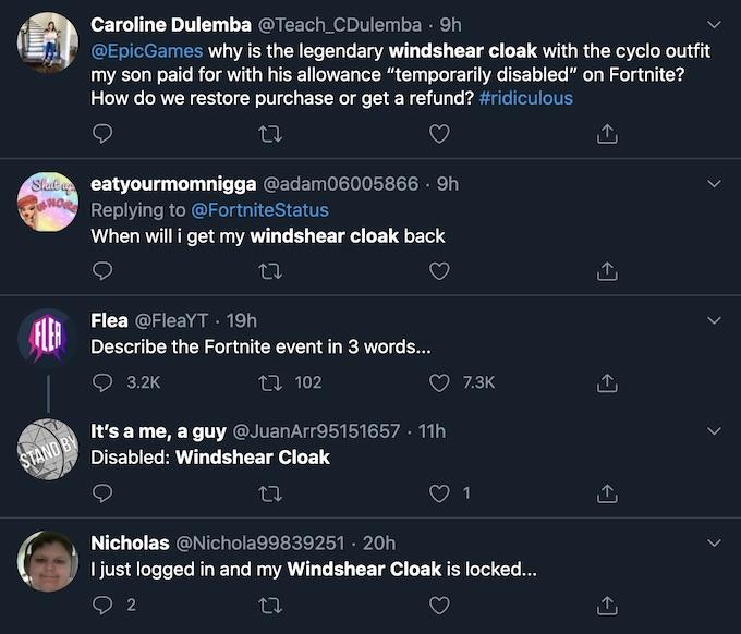 fortnite users wonder about windshear cloak disabled