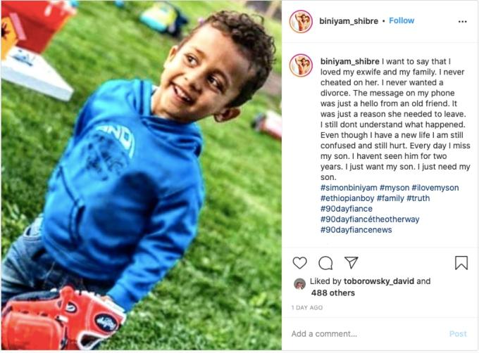 Biniyam's Instagram post about his son. Pic credit: @biniyam_shibre / Instagram