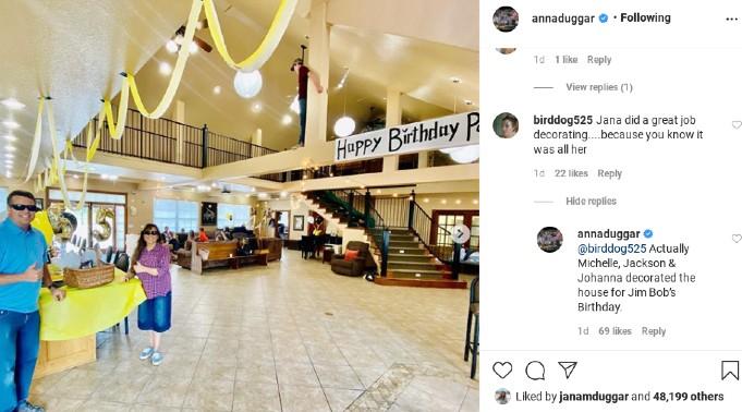 Anna Duggar shared photos from Jim Bob Duggar's birthday.
