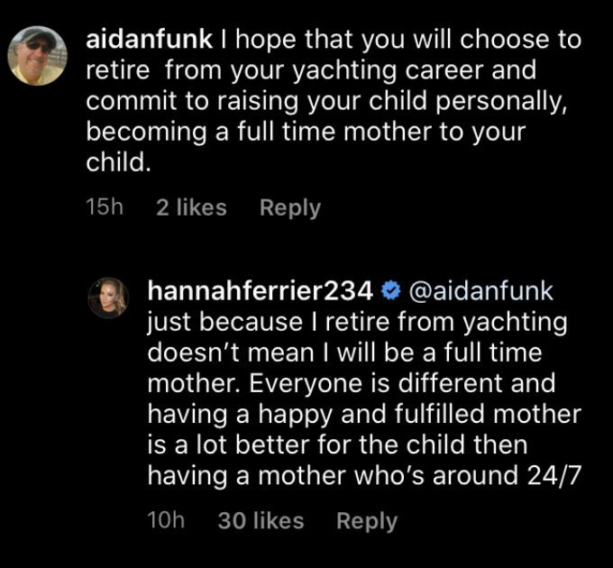 Below Deck Med star Hannah Ferrier slams troll who blasted working mothers.