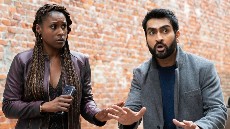 Issa Rae as Leilani, Kumail Nanjiana as Jibran from The Lovebirds