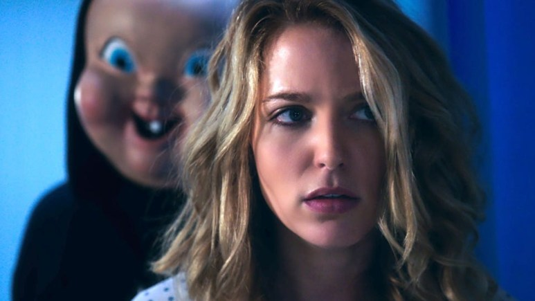 Jessica Rothe and Baby Face Killer in Happy Death Day