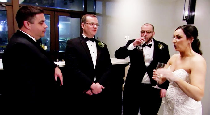 MAFS Olivia talking to Brett's groomsmen