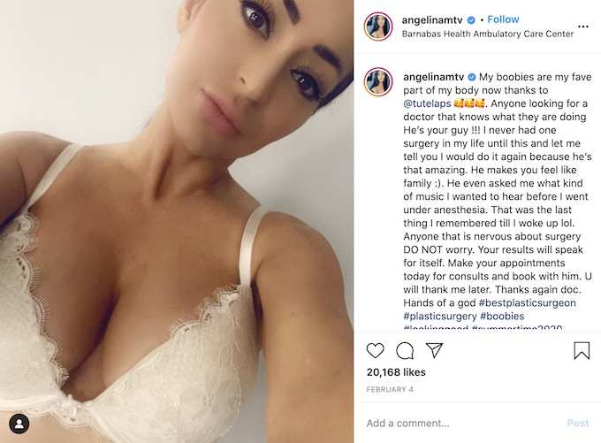 Angelina Pivarnick breast implants