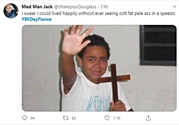 Fan reacts to Colt in speedo