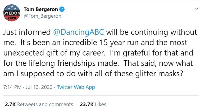 tom bergeron tweet about firing from dancing with the stars