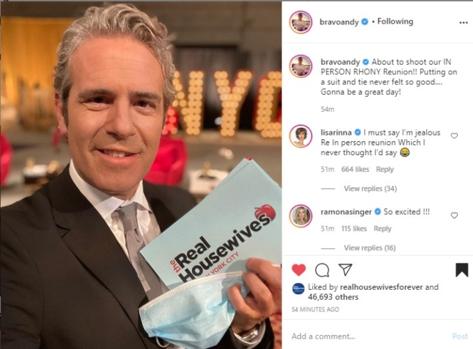 Andy on set of RHONY reunion