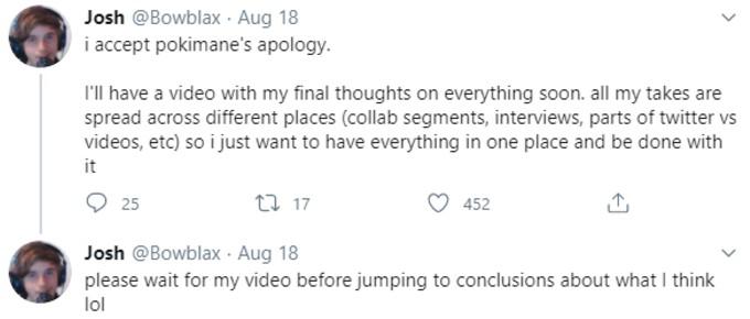 Bowblax tweet accepting Pokemane apology