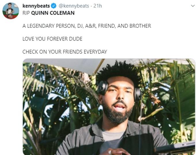 Tweet from Kenny Beats