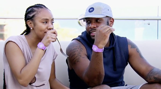 MAFS couple Karen and Miles talking on their honeymoon