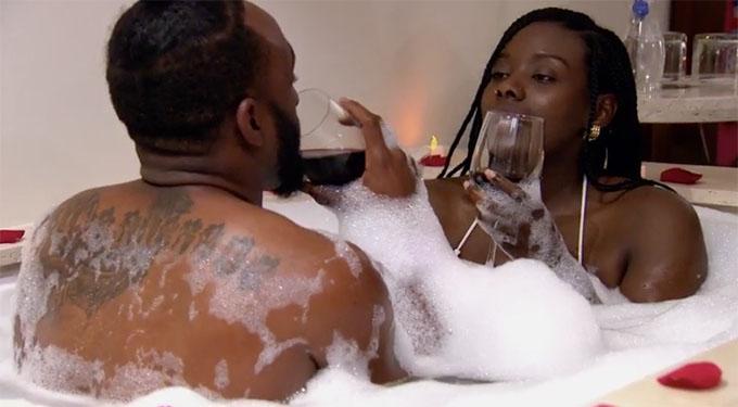 MAFS couple Woody and Amani in bath drinking wine