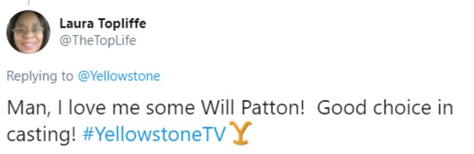 Another tweet praising Will Patton
