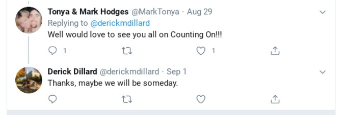 Derick Dillard's tweet about returning to Counting On.