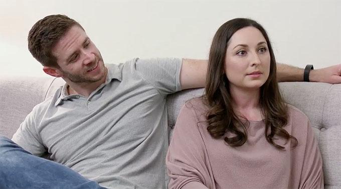 MAFS Season 11 couple Olivia and Brett talking on couch