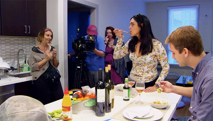 MAFS Season 11 couple Henry and Christina arguing with production while eating dinner