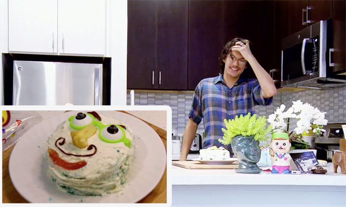MAFS Season 11 Bennett looking at a funny cake with face