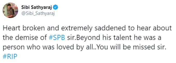 Tweet tribute to SPB