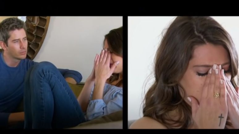 A side by side view of Arie Luyendyk Jr. sitting on the couch with Becca Kufrin while she puts her face in her hands crying