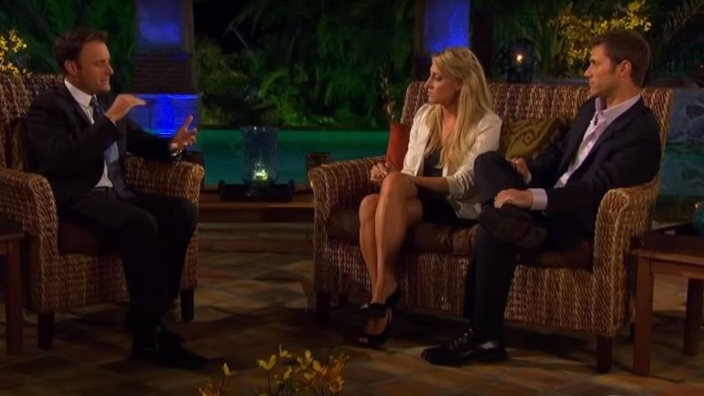 Chris Harrison sits down with Vienna Girardi and Jake Pavelka on couches outside at night